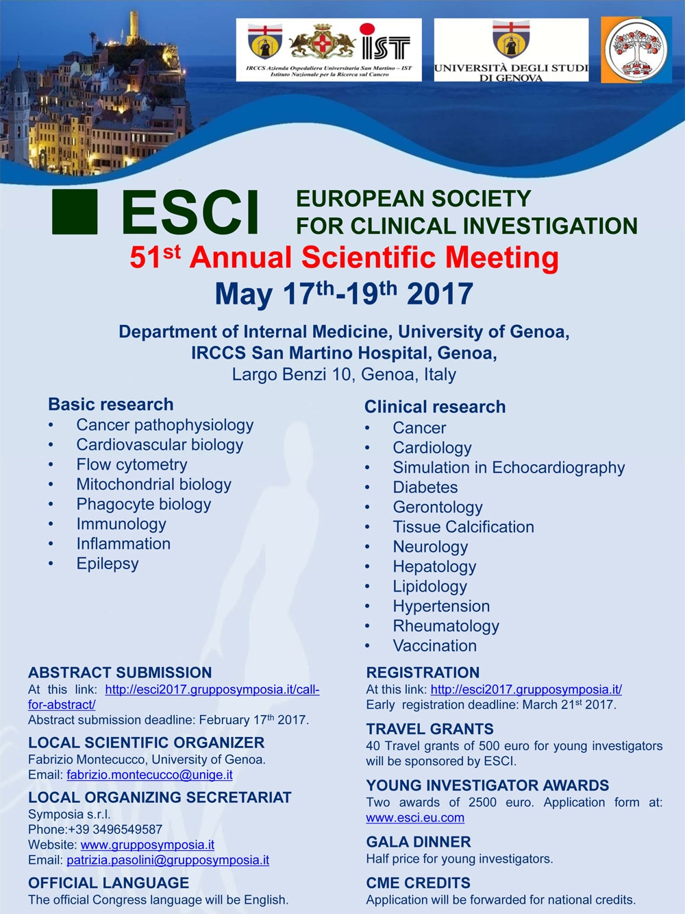 51st Annual Scientific Meeting of the European Society for Clinical Investigation (ESCI)